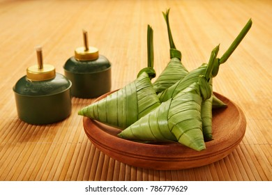 Ketupat on a woven tray, a Malaysian sticky rice usually served during festive season.