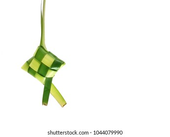 Ketupat (rice dumpling) on white background. Ketupat is most popular food on Aidilfitri festival (Fasting Day of Celebration for Muslims)