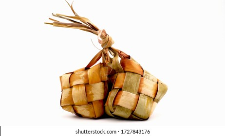 Ketupat (Rice Dumpling) special dish served at Eid Mubarak.On White Background. Ketupat is a natural rice casing made from young coconut leaves for cooking rice during eid Mubarak, ied al Fitr
