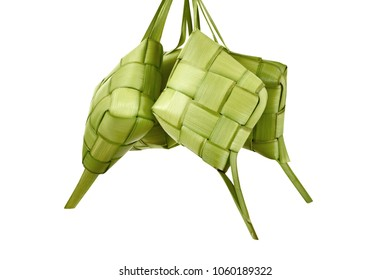 Ketupat is traditional food with unique pattern isolated over white background
