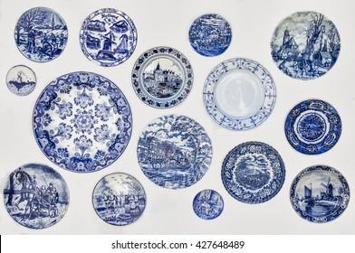 Keukenhof. Holland. MAY 9, 2016. Decorative plates from Holland. Dutch souvenir plates on the wall.
