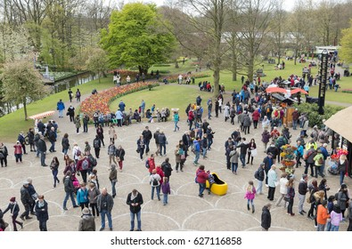 Keukenhof, Lisse, Netherlands, 19 april 2017 - People Enjoying The Park At Keukenhof on 19 April in Lisse, this park is a attraction for people all over the world to ee the dutch tulips