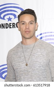 Kevin Alejandro attends Lucifer press room at Wondercon in Anaheim Convention Center on April 2 2017.