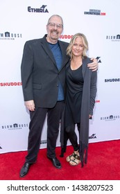 Kevin Tenney, Cathy Podewell attend 2019 Etheria Film Night at The Egyptian Theatre, Hollywood, CA on June 29, 2019