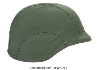kevlar helmet with a camouflage cover isolated on white background