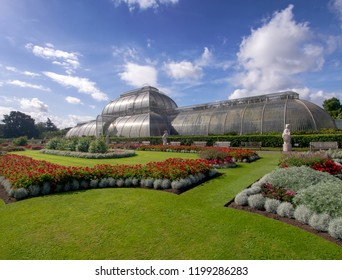 KEW GARDENS, LONDON, UK SEPTEMBER 15, 2018: The Palm House at Kew Gardens, London, basks in late summer sun. It specializes in growing of palms and other tropical and subtropical plants.