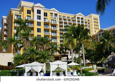KEY BISCAYNE, FL -6 MAY 2017- View of the Ritz Carlton Key Biscayne, a luxury hotel and resort located on the beach in Key Biscayne, an island town south of Miami in Miami-Dade county.