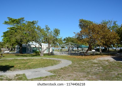 KEY BISCAYNE, FL, USA - APRIL 17, 2018: Beautiful Crandon park full of flora and fauna located in Key Biscayne near Miami