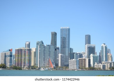 KEY BISCAYNE, FL, USA - APRIL 16, 2018: View to Brickell from Key Biscayne