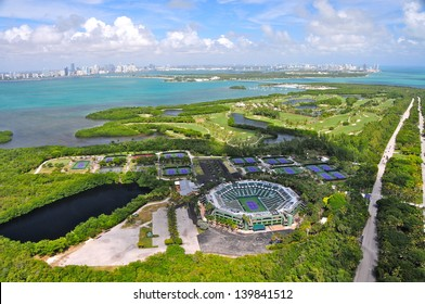 KEY BISCAYNE - OCTOBER 25 : Aerial view of the Crandon Park Tennis Center in Key Biscayne, Miami area, FL, on October 25, 2010.Home of the Sony Ericsson Open since 1987 it has a capacity of 13300.