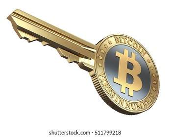 Key with bitcoin isolated on white background - 3D illustration