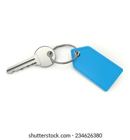 Key with blank blue shield on white background