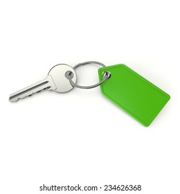 Key with blank green shield on white background