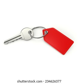 Key with blank red shield on white background
