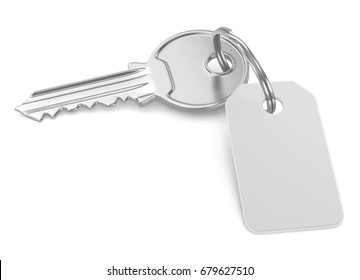 Key with blank tag, 3d illustration isolated on white