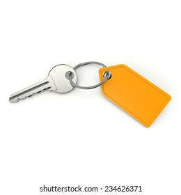Key with blank yellow shield on white background