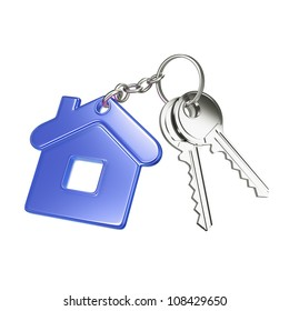 key with blue key chain in form of house