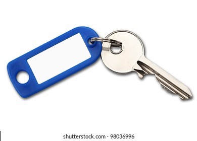 key with blue label on white background