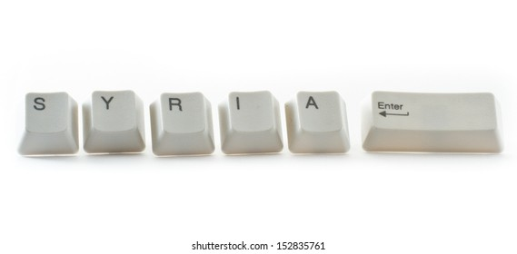 key board letters isolated on a white background spelling syria control