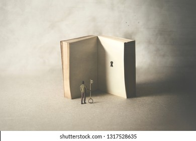 key in a book, surreal concept