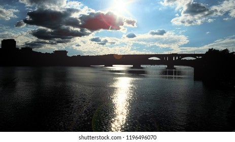 Key Bridge and Rosslyn Skyline, Washington DC, USA. A View in Potomac River from Georgetown Park in US Capital