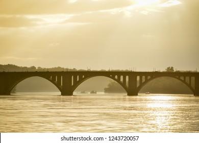 Key Bridge at sunset - Washington DC United States of America