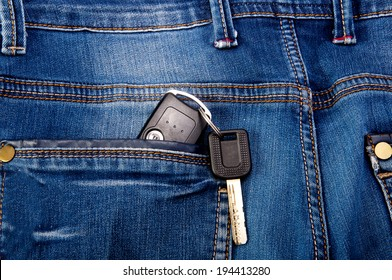 key from the car in the back pocket of jeans