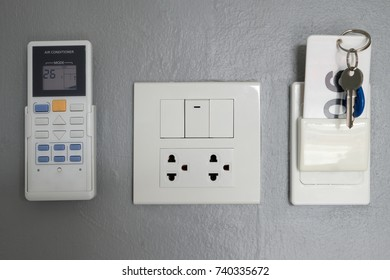 Key card, electrical panel, for opening and closing the door and electricity in the room.