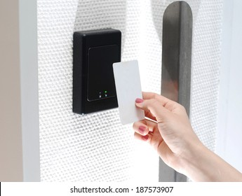 Key card with female hand