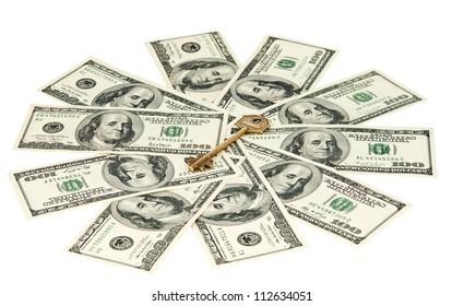 key with dollars isolated on white background