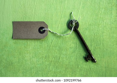 Key and an empty label on a green background