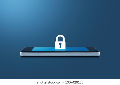 Key flat icon on modern smart mobile phone screen on wooden table over gradient light blue background, Business internet security and safety concept