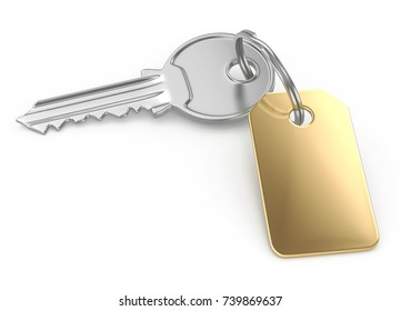 Key with gold tag, 3d illustration isolated on white
