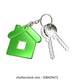 key with green key chain in form of house