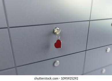 key heart safe  3D illustration, 3D rendering