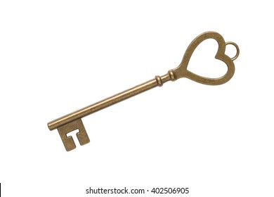 Key heart shape on white background