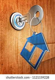Key from home and real estate owner concept, metallic key with blue transparent house keychain in keyhole on wooden door background, 3d illustration
