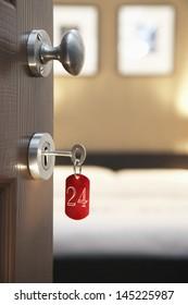 Key in hotel room's door