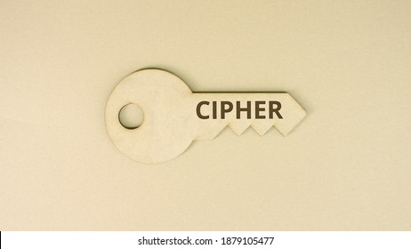 Key icon with printed CIPHER text