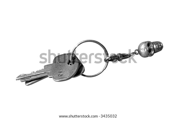 key isolated, key from lock, key ring, object over white, with absolutely white a background