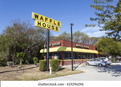 Key Largo, Fl, USA - March 16, 2017: Exterior view of a Waffle House restaurant in Key Largo. Florida, United States