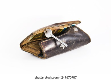 key of the leather wallet
