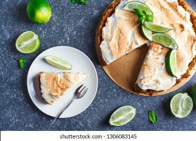 Key Lime Pie. Citrus pie with meringue, top view.