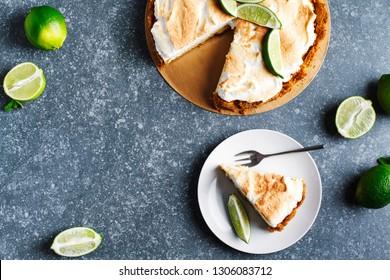 Key Lime Pie. Citrus pie with meringue, top view, copy view