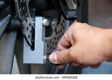 Key lock disk brakes motorcycle.
