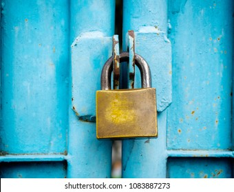 key lock old stitched in the blue door.