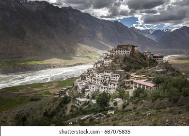 key monastery or ki monastery - very old and  famous buddhist monastery in spiti valley, himachal pradesh, india
