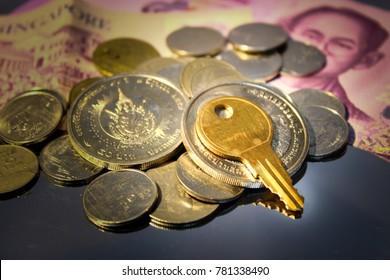 Key and money.
