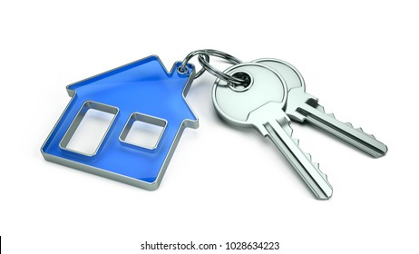 Key to a new home concept - House keys with trinket house isolated on white. 3d rendering