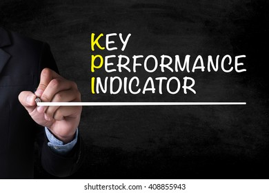 KEY PERFORMANCE INDICATOR and Businessman drawing  Page on blackboard